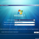 Der Installationsbildschirm von Windows 7