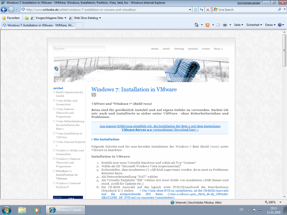 Internet Explorer 8 in Aktion