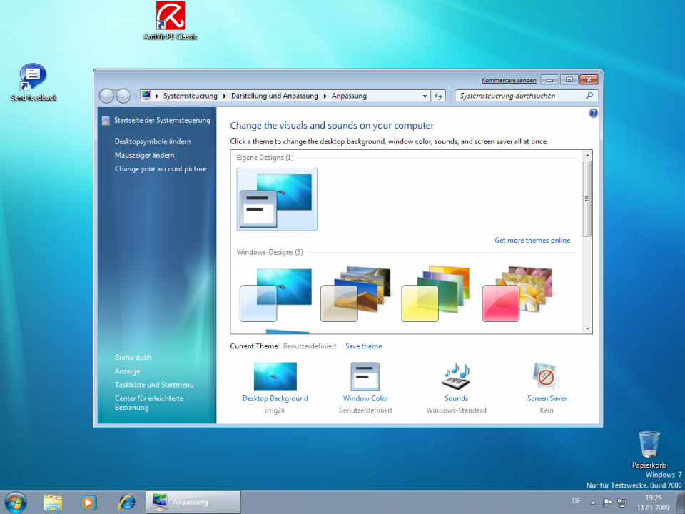 Windows 7 Theme-Auswahl
